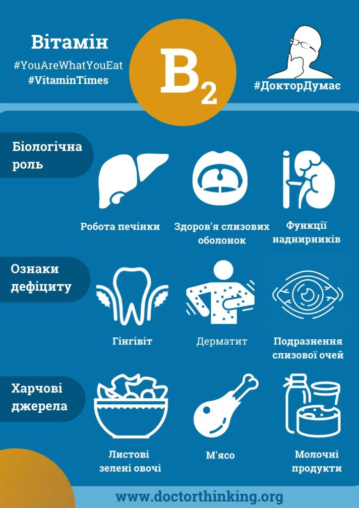 Рибофлавін інфографіка, ознаки дефіциту та харчові джерела