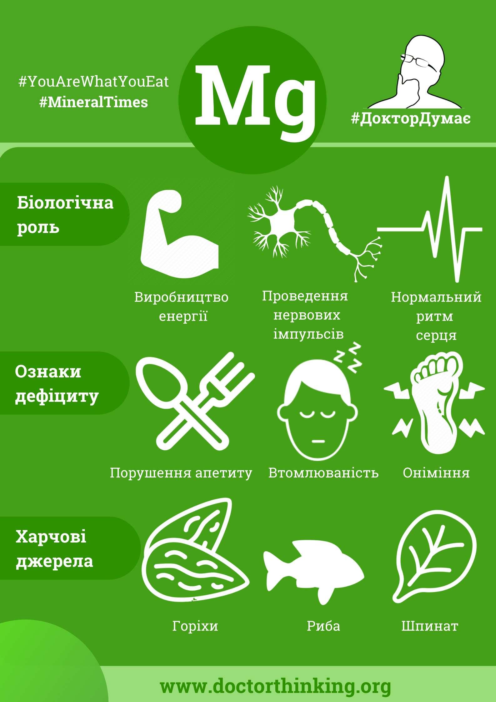 Магній інфографіка біологічна роль